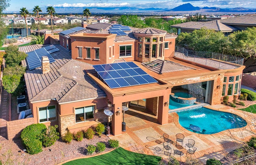 Large Las Vegas home with beautiful landscaping captured with drone photography