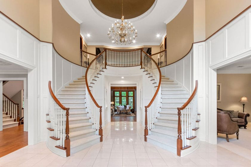 Grand double stairway entrance to a Las Vegas home