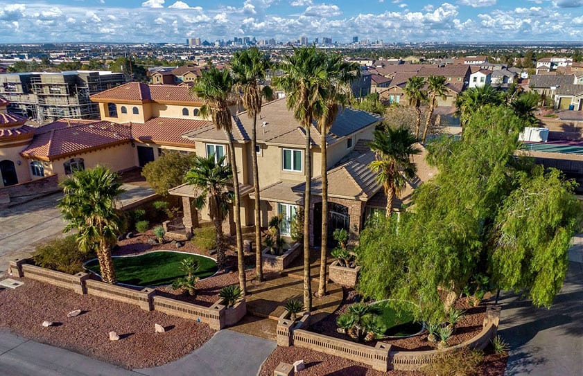 Aerial photo of a property listing with views of the Las Vegas strip in the background.