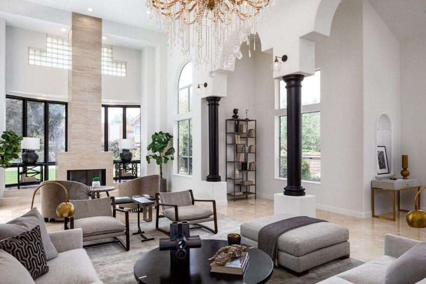 Las Vegas living room featuring black and white modern decor