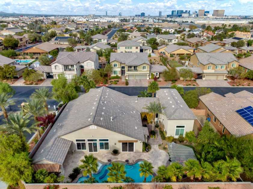 drone photo of backyard with pool and view of Las Vegas strip in the horizon