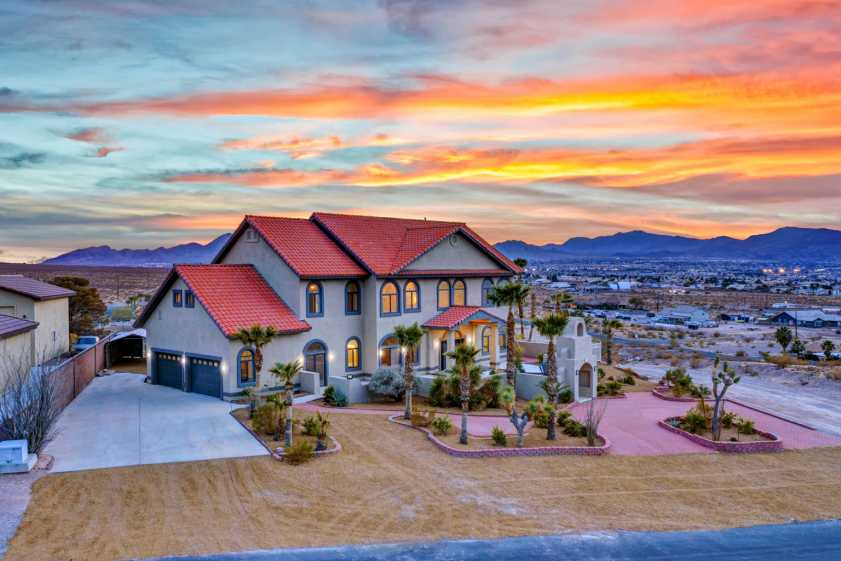 Las Vegas large house with sunset in background