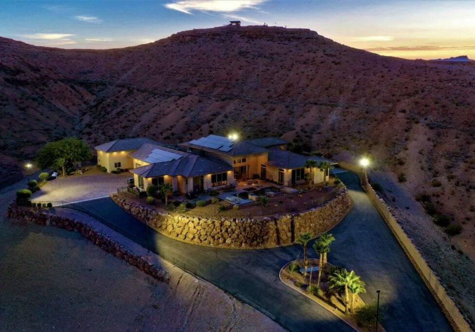 Large Las Vegas home for sale, shot at dusk using a drone